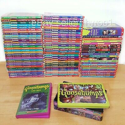 Lot of 80+ Goosebumps Complete Original Set & RL Stine Books + Bonus DVD, TIN