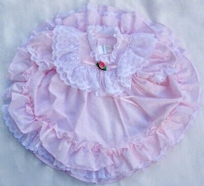 VTG Pink Ruffle Full Circle Dress Lace Party Frilly USA 2T Mothercare Pageant