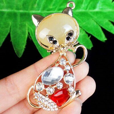 Pave Crystal Agate Carved Tibetan Gold Cat Pendant Bead SH1031