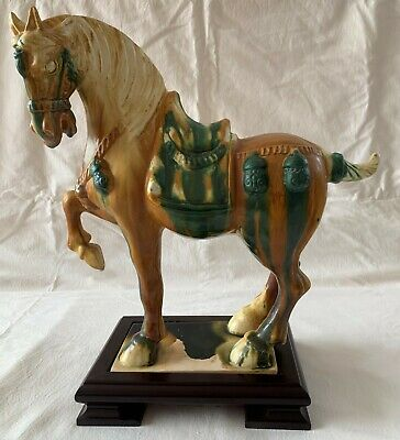 Chinese Tang Horse - Traditional Design in Brown, Cream & Green