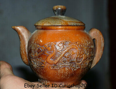"6"" Marked Old Chinese Ox Horn Dynasty Dragon Phoenix Handle Teapot Teakettle"