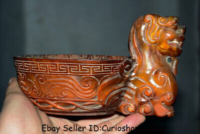 """7.2"""" Qianlong Marked Old Chinese Ox Horn Dynasty Palace Beast Zun Drinking Cup"""