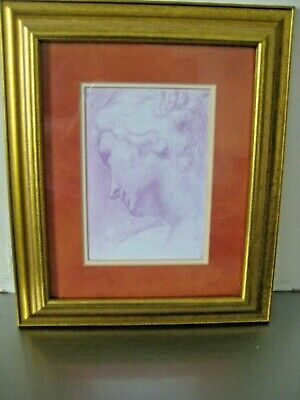 STUDY OF A WOMAN D Drawing  Print in Vintage Wooden Gold Frame.