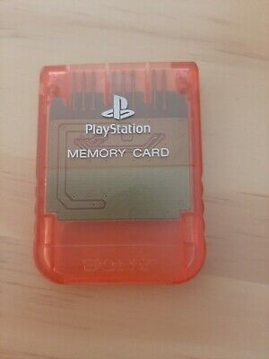 Clear Red Official PS1 Memory Card - Sony PlayStation One 1