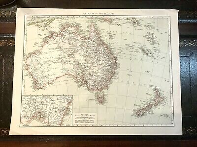 1895 Original Vintage Railways & Overland Telegraph Map Australia NZ & surrounds