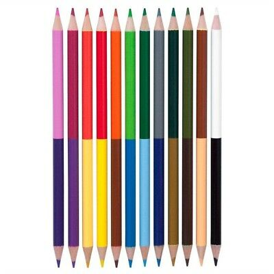 20x DOUBLE ENDED COLOURING PENCILS Kids Childrens Two Sided Art Craft Colour Set