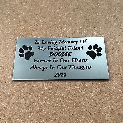 Personalised Engraved Bench Pet Memorial Plaque Dog 10X5Cm Brushed Silver  (R1)