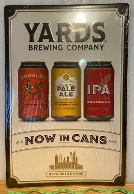 VERY RARE Yards Brewing Company Beer Tin Tacker Sign Philladelphia Bar MAN CAVE