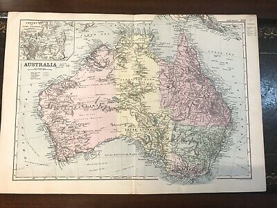 C1892 Australia Original Antique Map From Bacon's Universal Atlas