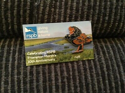 RSPB PIN BADGE RUFF SPECIAL 10 th FRAMPTON ANIVERSARY SPECIAL  ILLUSTRATED  CARD