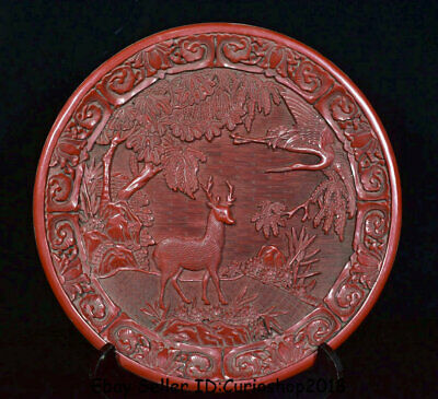 """12.2"""" Qianlong Marked Old Chinese Red Lacquerware Dynasty sika deer Plate Tray"""