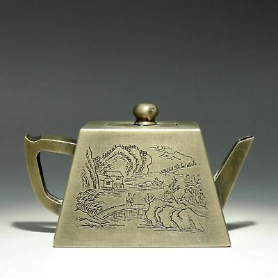 Collectable China Old Miao Silver Hand-Carved Immortal & Scenery Unique Tea Pot
