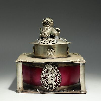 Collect Old Miao Silver Armour Agate Hand-Carved Myth Dragon & Lion Luck Censer