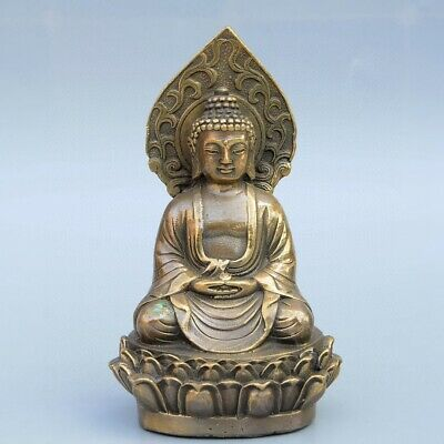 Collect China Old Bronze Hand-Carved Buddhism Kwan-Yin Delicate Exorcism Statue