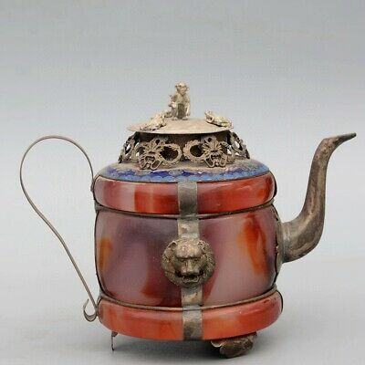 Collect Old Miao Silver Armour Agate Hand-Carved Myth Dragon & Monkey Tea Pot