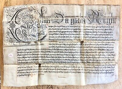 17th Century Charles I Vellum Latin Indenture Deed to Bower Family Chesterfield