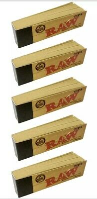 5 x Raw TIPS Roach Filter Booklet Books for Smoking Rolling Paper Unbleached