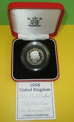 SILVER PROOF PIEDFORT FIFTY PENCE COIN 25th ANNIVERSARY EEC