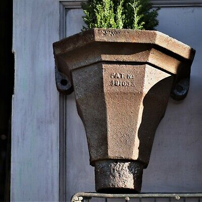 Antique Vintage Reclaimed Cast Iron Rain Hoppers pair Recycled Wall Planter