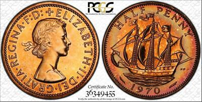 1970 Great Britain Half Penny Pcgs Pr65Rd Proof Circle Toned Coin In High Grade