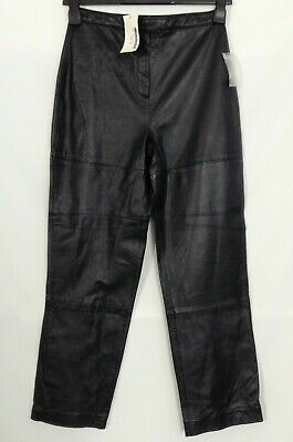 New Style & Co Collection Womens Petite Size 4P Black Leather Pants Lined -P14