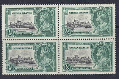 CAYMAN ISLANDS 1935 SG108 1/2d SILVER JUBILEE MNH BLOCK OF FOUR