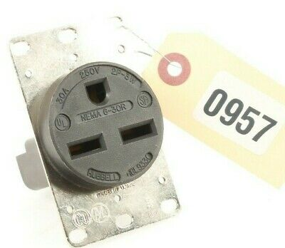 HUBBELL WIRING DEVICE-KELLEMS HBL9330 30A Single Receptacle 250VAC 6-30R BK