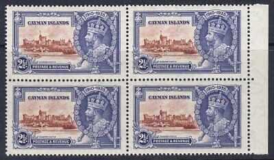 CAYMAN ISLANDS 1935 SG109 21/2d SILVER JUBILEE MNH MARGINAL BLOCK OF FOUR