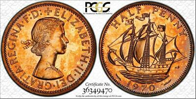 1970 Great Britain Half Penny Pcgs Pr63Rd Proof Color Toned Coin In High Grade