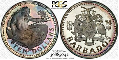 1974-FM Barbados $ 10 Dollars PCGS PR67DCAM Toned Proof! Only 9 Graded Higher