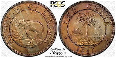1941 Liberia 2 Cents Bu Uncirculated Pcgs Ms63 Toned Coin In High Grade