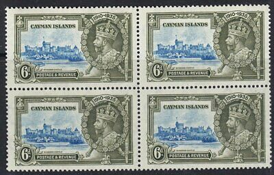 CAYMAN ISLANDS 1935 SG110 6d SILVER JUBILEE MNH BLOCK OF FOUR