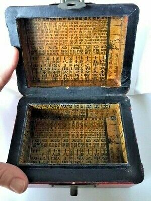"""Antique Chinese Red Lacquer BOX w Chinese Script Lettering Inside 4"""" x 5.5"""" x 3"""""""