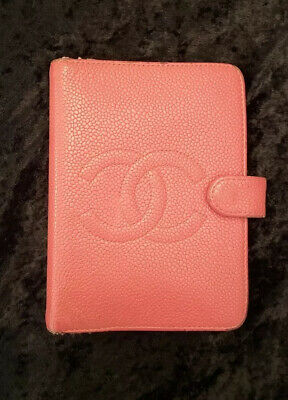 Auth CHANEL CC Logos Caviar Skin Leather Agenda Daily Planner Cover - Rose Pink