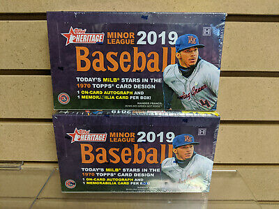 TWO 2019 Topps Heritage Minor League Baseball Hobby Box NEW SEALED