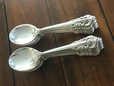 1941 1st EDITION WALLACE GRANDE BAROQUE STERLING CREAM SOUP SPOON ROUND GRAND