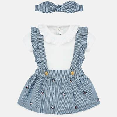New Mayoral Baby Girl skirt with braces and headband set, Age 0-1 months (1863)