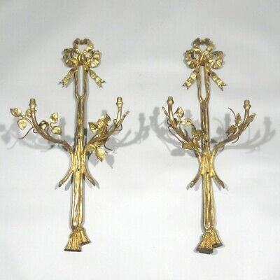 Pair of Antique French Gilded Bronze Sconces, Ribbons, Tassels, Rose Leaves