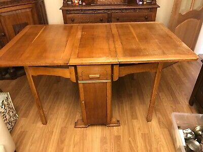 early 20th century Oak Drop Leaf Dining Table Cutlery Plate Storage Ends