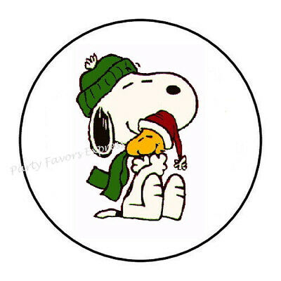 """30 SNOOPY ENVELOPE SEALS LABELS STICKERS PARTY FAVORS 1.5/"""" ROUND"""