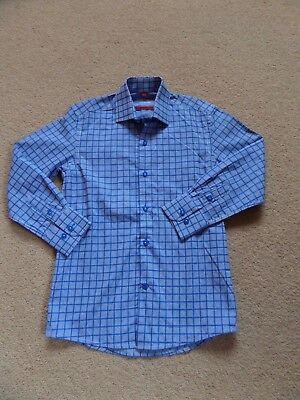 BNWOT Boy's DESIGNER Shirt LUCHIANO VISCONTI Age 8 Blue Checked From USA