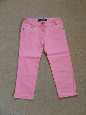 FABULOUS! Girl's MINI BODEN Crop Jeans Age 8 Coral Pink Adjustable Waistband