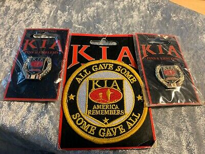 KIA AMERICA REMEMBERS Gold Wreath Pin Killed in Action//The Brave /& The Free