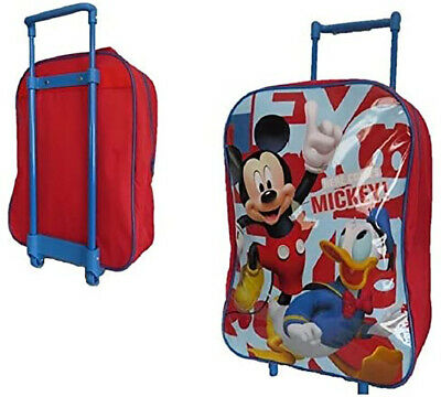 Disney Mickey Mouse & Donald Duck Trolley Backpack Cabin Bag Kids Boys Suitcase