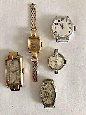 Lot of 5 Antique Gold and Silver Ladies Watches