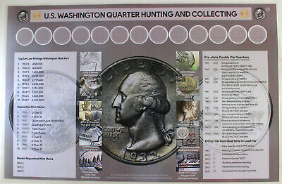 """U.S. Quarter Hunting and Collecting  11"""" x 17"""" Coin Roll Sorting Mat"""