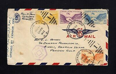 CANAL ZONE: 1946 Air Mail Cover to BAHRAIN, EGYPT CENSOR