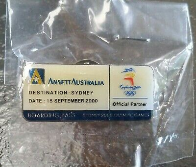 Ansett Airlines Australia ~ 2000 Olympic Games Boarding Pass Pin