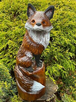 RED FOX Chainsaw Carving CHERRY WOOD Chainsaw Sculptures ORIGINAL FOLK ART!