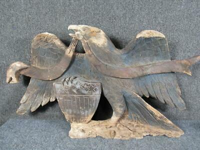 Antique Carved Wood United States Customs House American Eagle